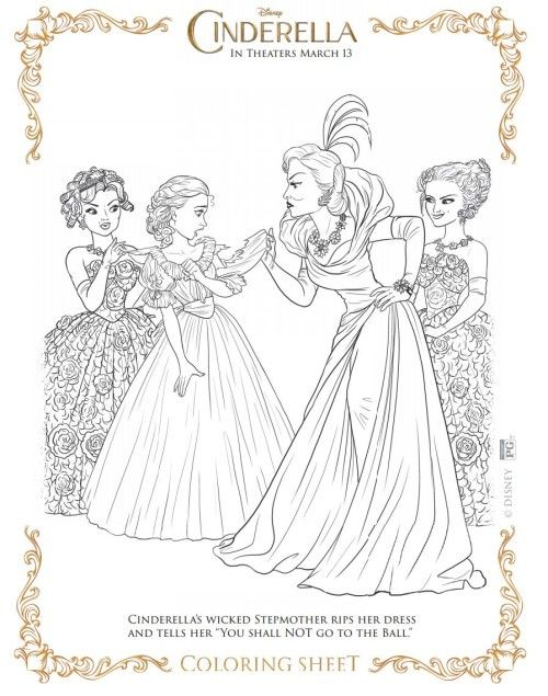 Cinderellas Wicked Stepmother Moved InDisney Movie Free Coloring Sheet