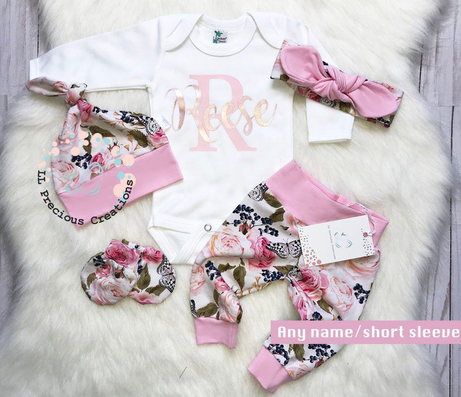 e58a5aa69 Baby Girl Clothes Baby Girl Coming Home Outfit Organic Newborn Girl Outfit  Personalized Outfit Pink Floral