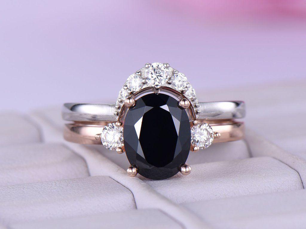 Oval Black Spinel Engagement Ring Sets Moissanite Wedding Band 14k Rose Gold 7x9mm Moissanite Wedding Bands Spinel Engagement Rings Bridal Ring Sets