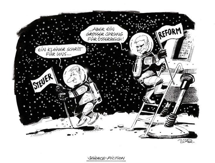 """OÖN-Karikatur vom 14. Mai 2014: """"Science Fiction"""" Mehr Karikaturen auf: http://www.nachrichten.at/nachrichten/karikatur/cme1581,1058151 (Bild: Mayerhofer)"""