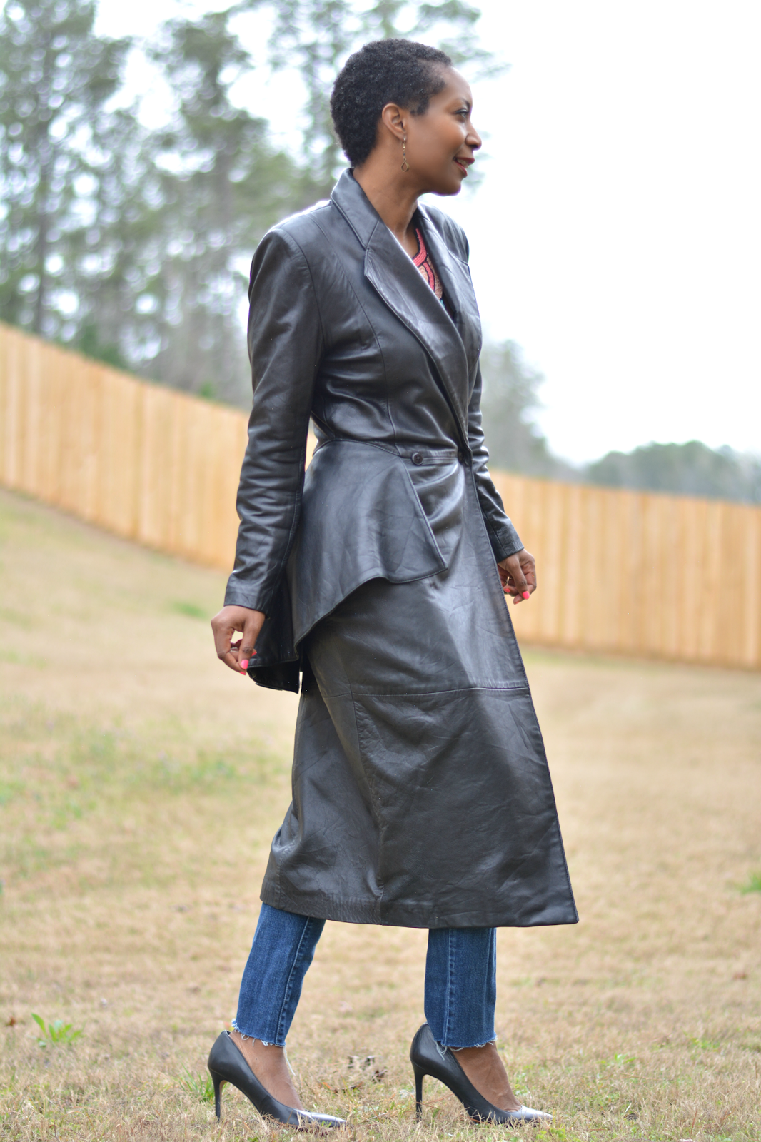 Vintage Leather Trench Coat As A Dress Leather trench