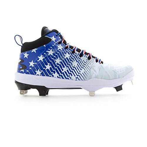 f04273971593 Boombah Men's Squadron Flag Metal Mid Cleats Royal Blue/Red/White - Size 9.5
