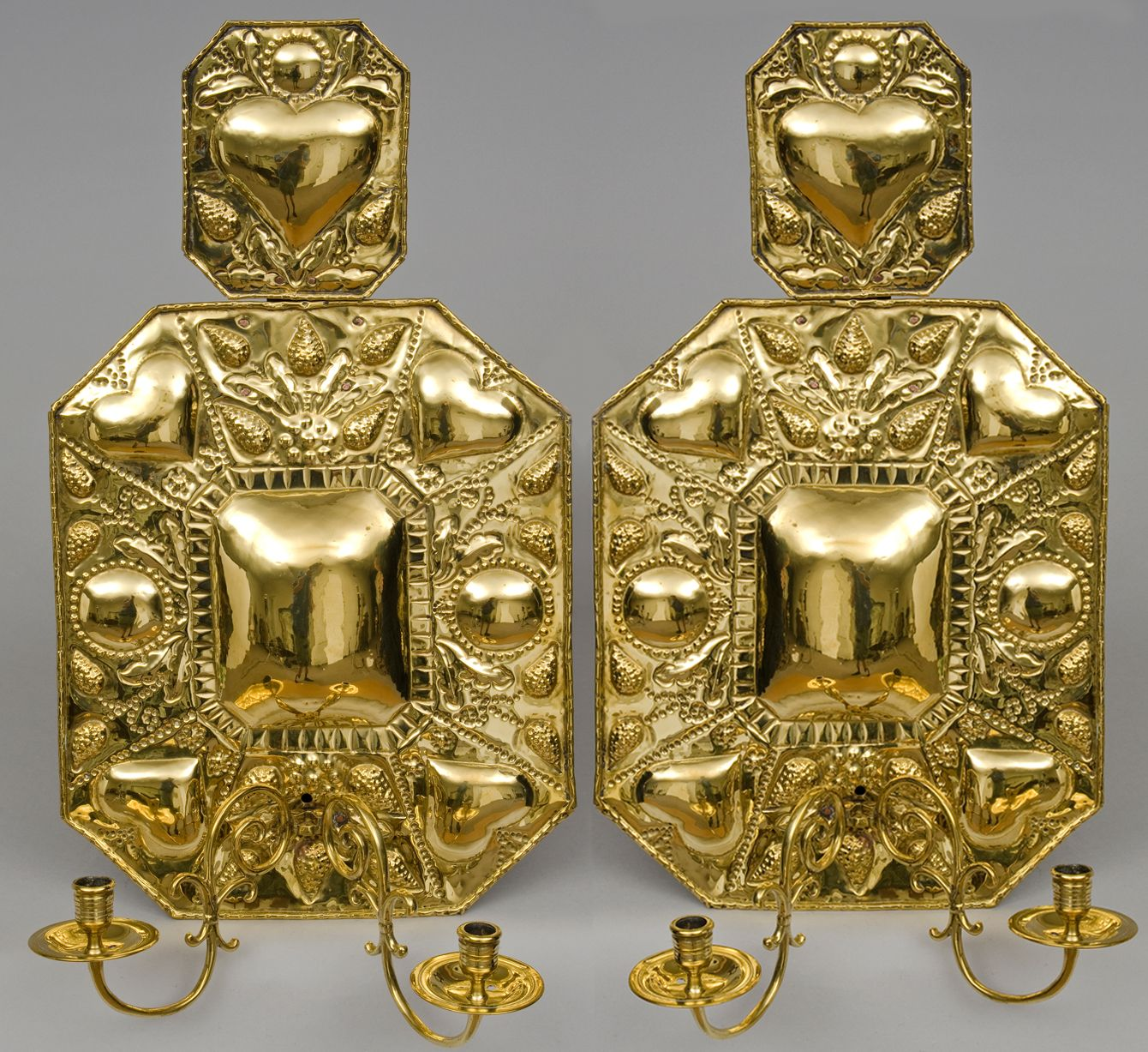 Pair Dutch repousse brass octagonal wall sconces with large ornate ...