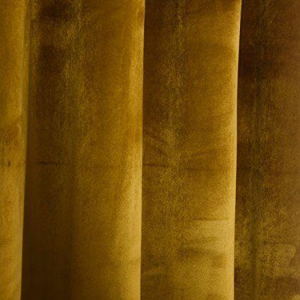 Amazon Com Super Soft Luxury Velvet Set Of 2 Warm Yellow Blackout Energy Efficient Grommet Curtain Pan Grommet