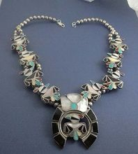 Native American Indian Thunderbird Inlay Sterling Silver Necklace from Catgre2157 on Ruby Lane