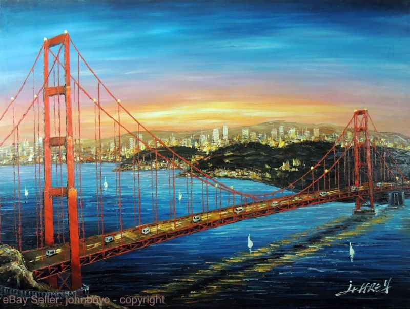 Painting: Golden Gate Bridge Sunrise San Francisco Bay Area