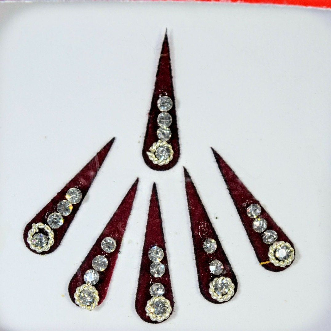 Maroon long bindis tilak tikka bindi available at bindigalaxy