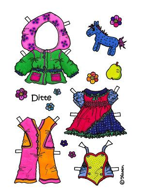 Karen`s Paper Dolls: Ditte 1-5 Paper Doll to Print in Colours. Ditte 1-5…