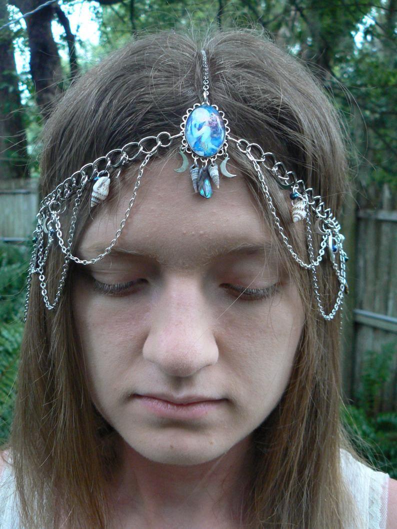 Mermaid Fancy Dress Costume Jewellery Beach Wedding Headpiece Silver Shells Circlet Headdress Silver Shell Mermaid Head Chain