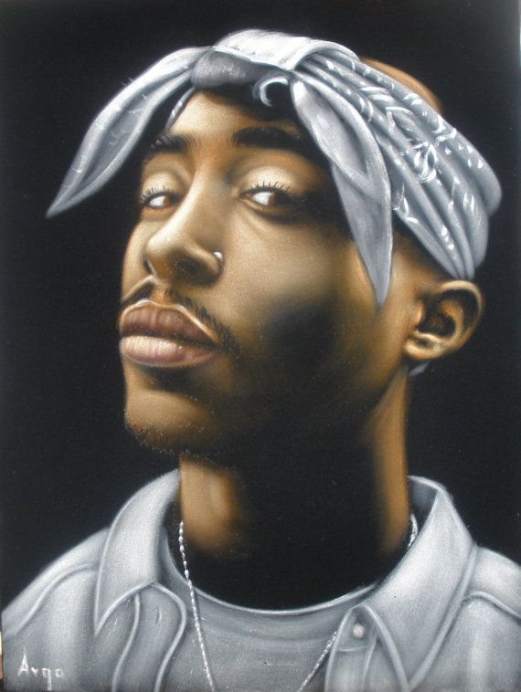 Tupac Shakur 2pac Rapper Black Velvet Original Oil Painting