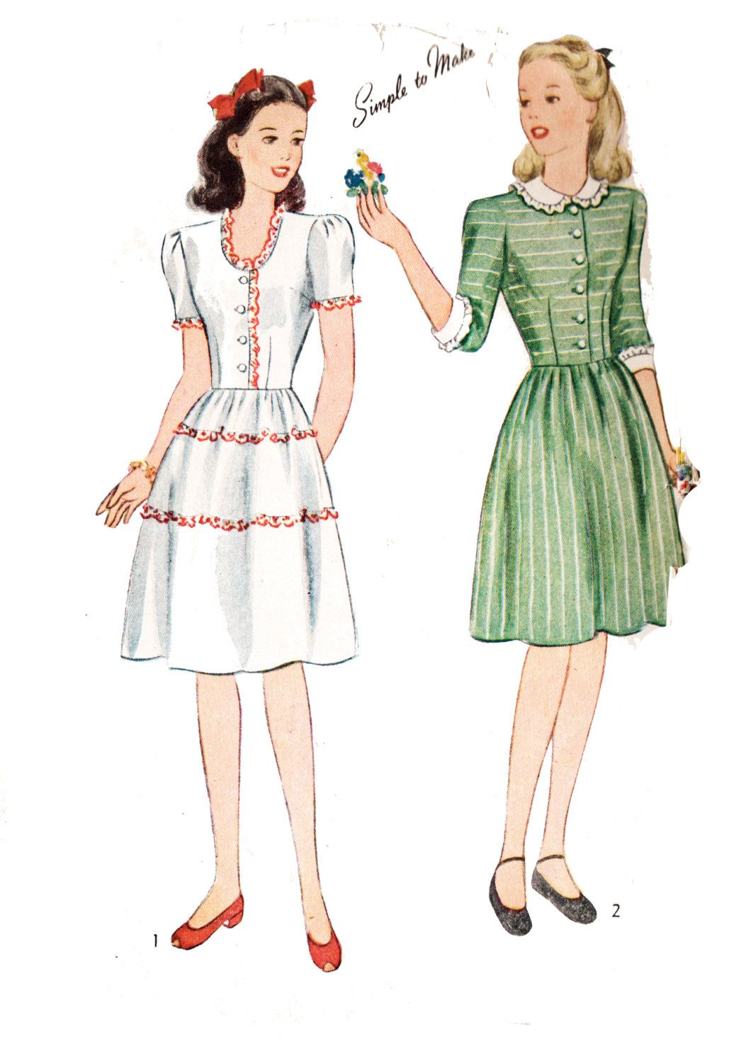 Simplicity 4901 Vintage 1940s Teen Size Dress Sewing Pattern by ...