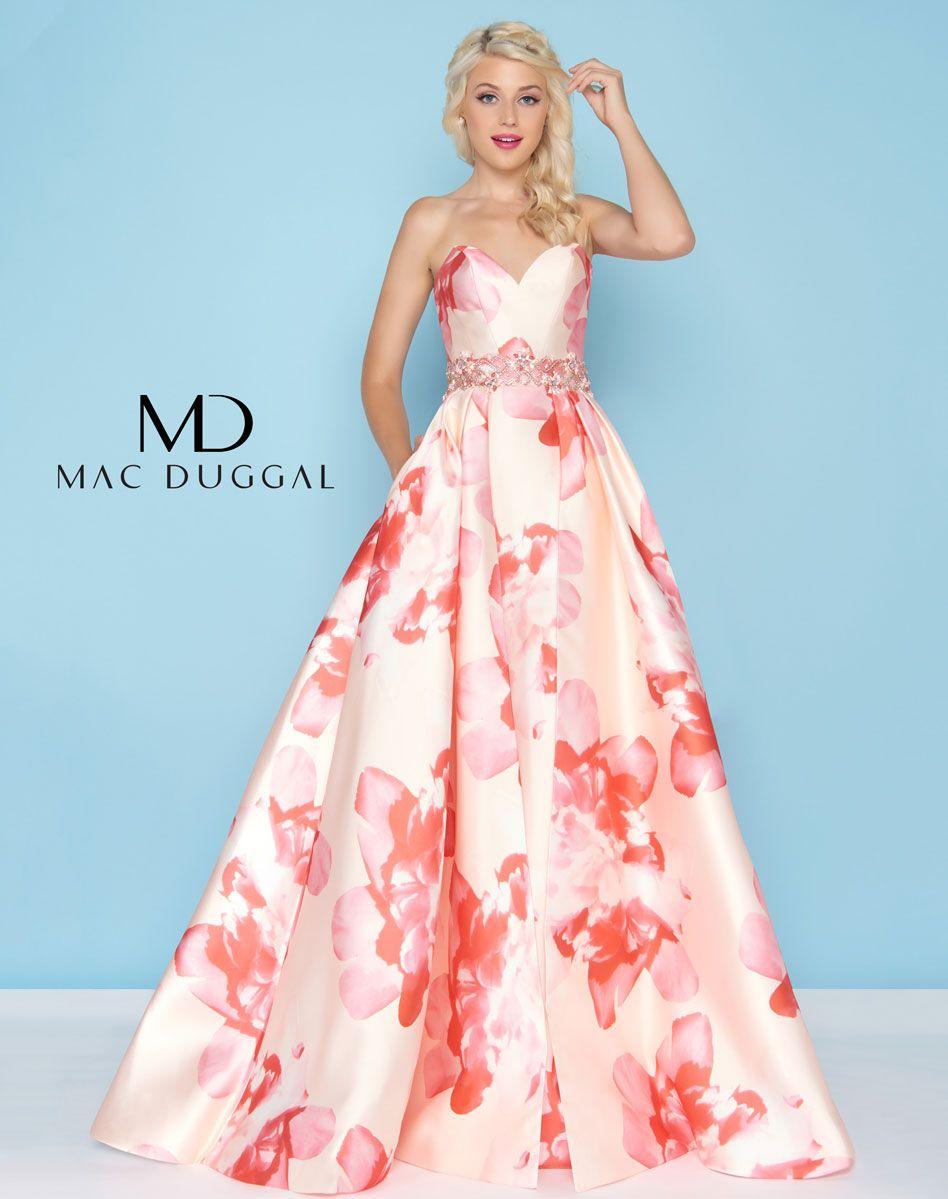 Mac Duggal 79094H Petal Peach Ballgown Ypsilon Dresses Floral ...