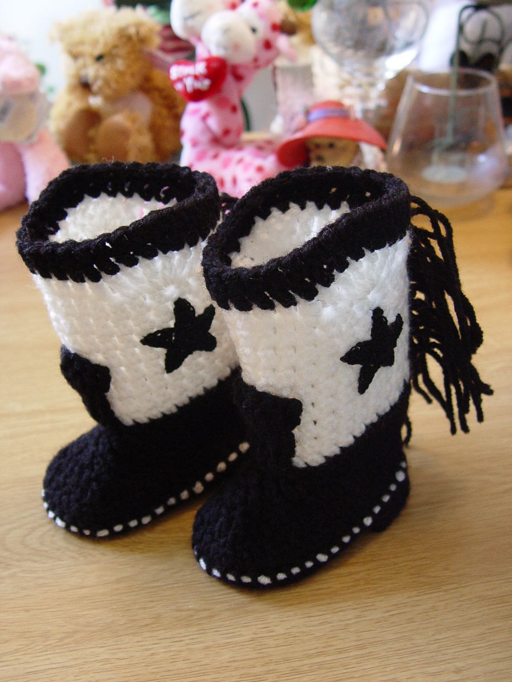 Handmade Crochet Baby Booties Western Cowboy Boots Black and White ...