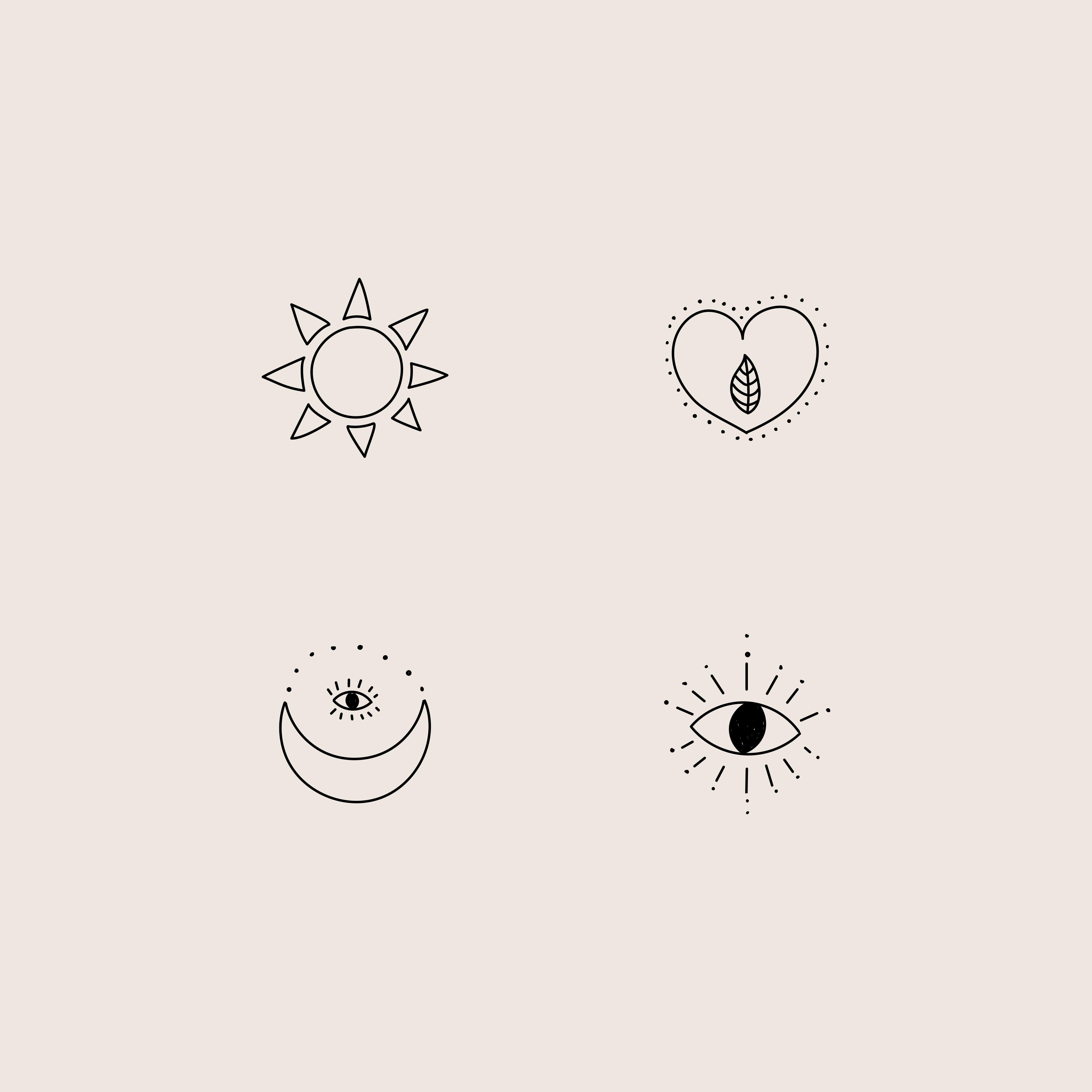 Illustration Moon Sun Eye Heart Leaf Leaves Design Logos Premade Logo Digital Portefolio Inspiration Diseno Grafico Vinet Small Tattoos Moon Tattoo Sun Tattoos