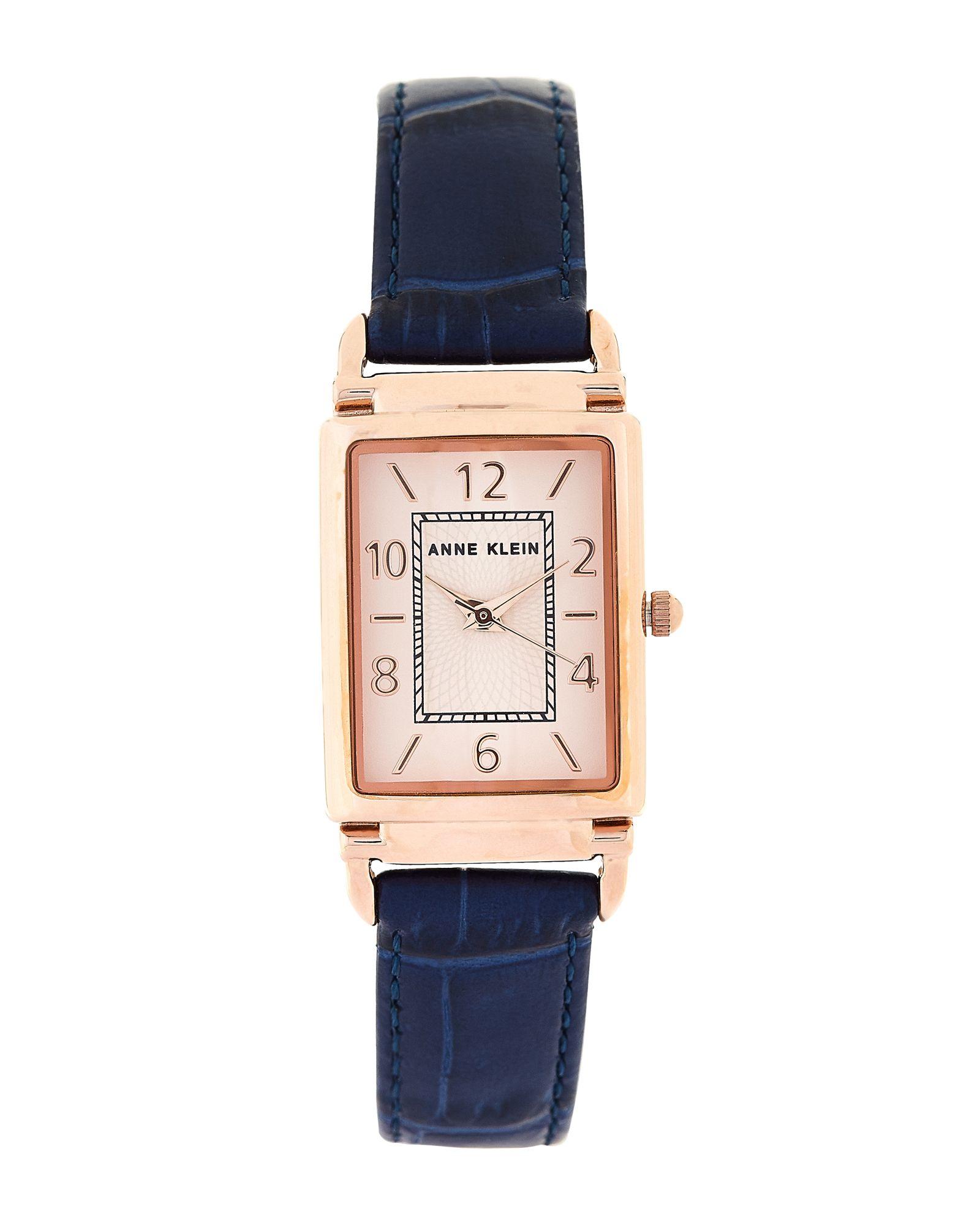 Anne Klein Ak2394 Rose Gold Tone Blue Leather Watch