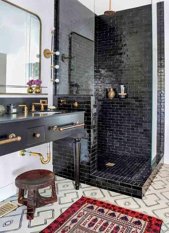 Azulejos negros azulejos para ba os peque os in 2019 ba os cuarto de ba o decoracion ba os - Azulejos cuartos de bano pequenos ...