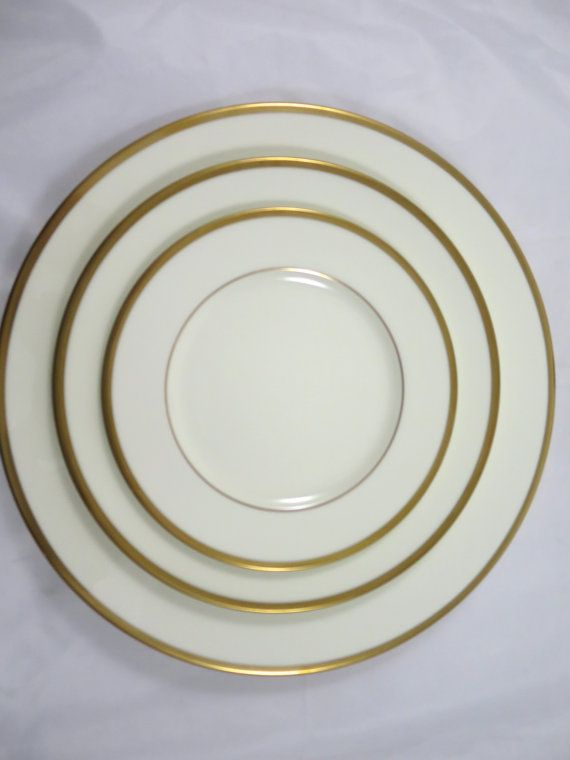 Service w/ Gold Bands Troy 9726 Pattern 5 Dinner Plate 2 Salad Plate 2 Bread Plate Japan Bone China 1979 & Noritake Bone China 3 Pc. Service w/ Gold by BonniesVintageAttic ...