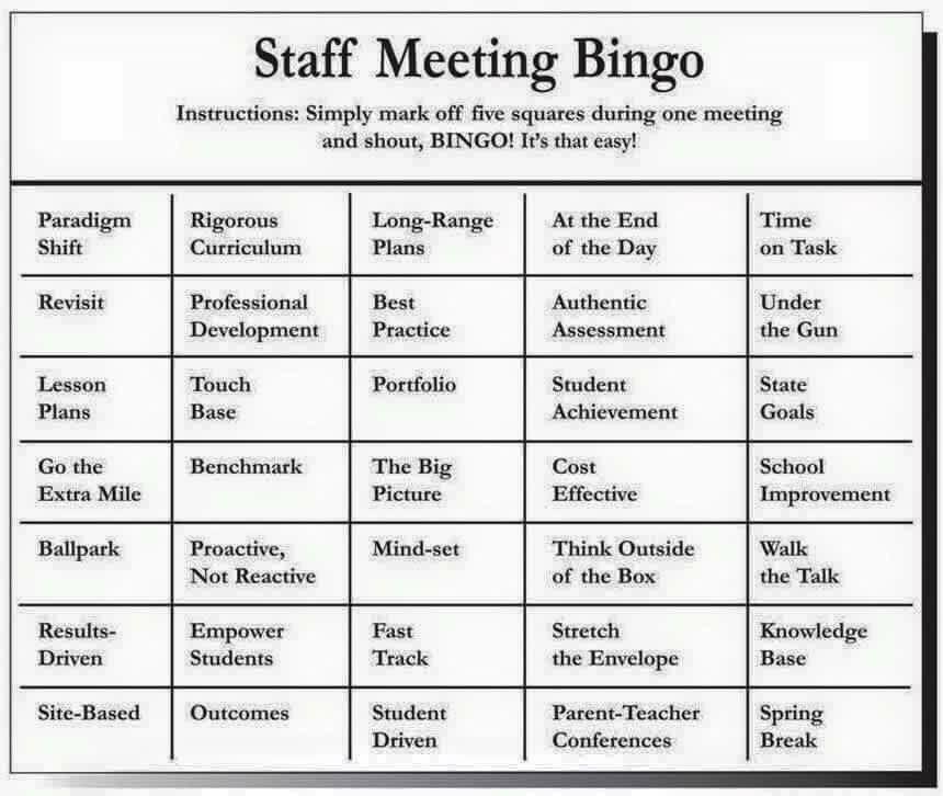 Staff Meeting Bingo Staff meetings, Professional