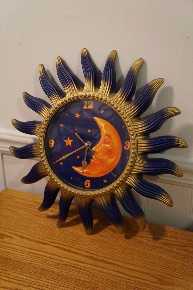 Vintage Sun Moon Stars Wall Clock Tested And Works Great Wall Clock Clock Stars And Moon