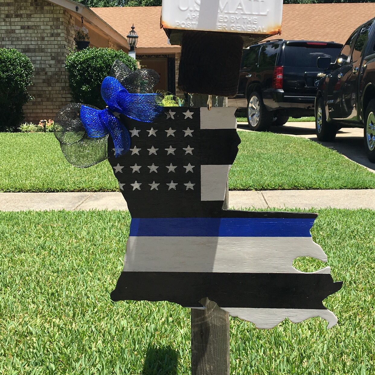 Louisiana Police Door Hanger Or Mailbox Decoration We Support Police Officers Thin Blue Line Police Door Hanger Mailbox Decor Door Hanger Template