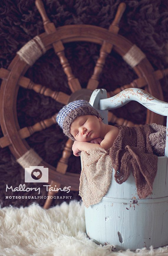 Newborn Boy Hats, Blue and White Striped Beanie Hat with Brown Wool Tweed Perfect for Photo Prop