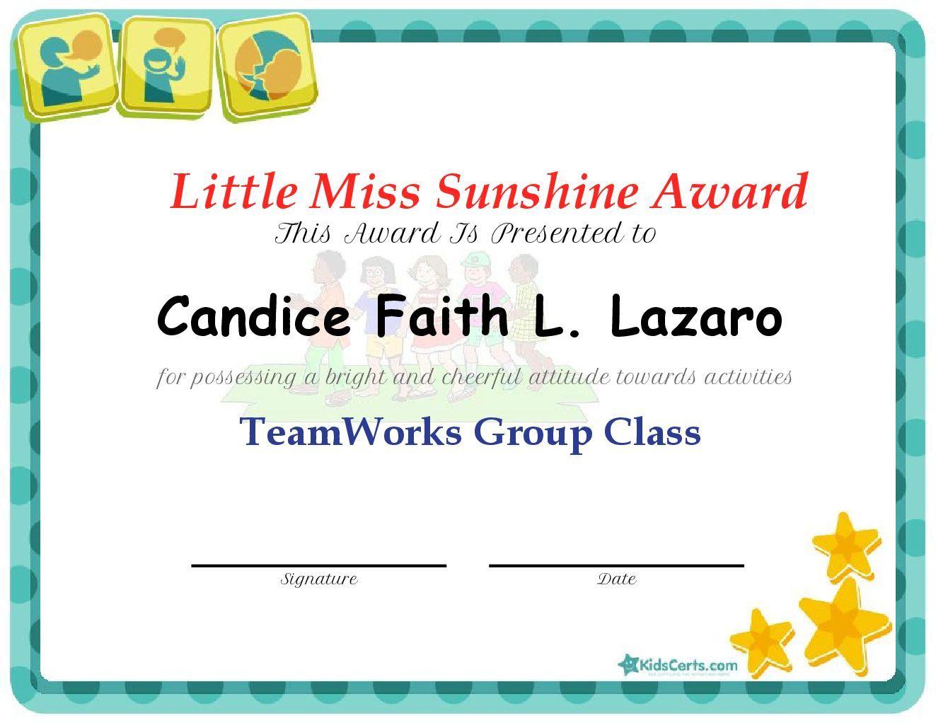 Little miss sunshine award teamworks group class certificate little miss sunshine award teamworks group class xflitez Choice Image