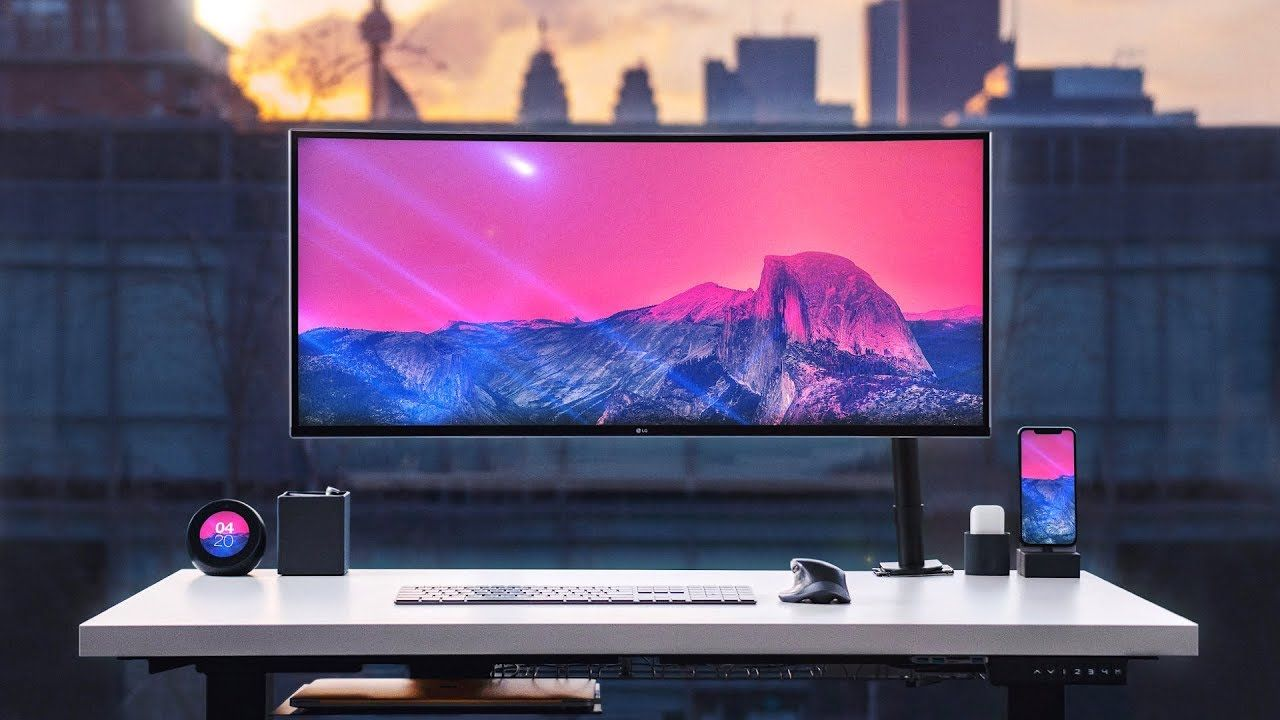 Ultimate Desk Setup 2019 Tour Minimal X Productive Youtube Desk Setup Linnmon Desk Wallpaper Diy Crafts