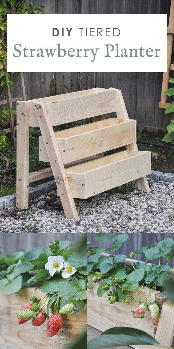 Tiered strawberry planters ideas, DIY tiered strawberry box planter, vertical garden idea. #diyoutdoorprojects #diyoutdoor #diyplanters #diyplantersoutdoor #diyprojects #diyideas #diyinspiration #diycrafts #diytutorial #diy