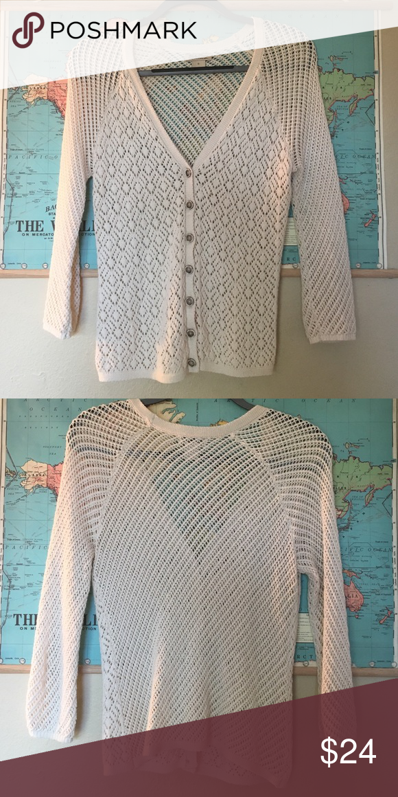 Lucky Brand white cardigan Pretty button up Lucky Brand white cardigan with three-quarter length sleeves. Lightly worn, in great condition. Lucky Brand Sweaters Cardigans