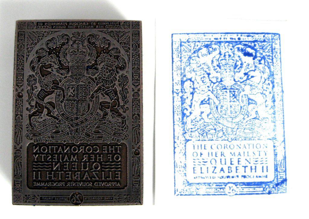 Copper Print Block Coronation Queen Elizabeth Original