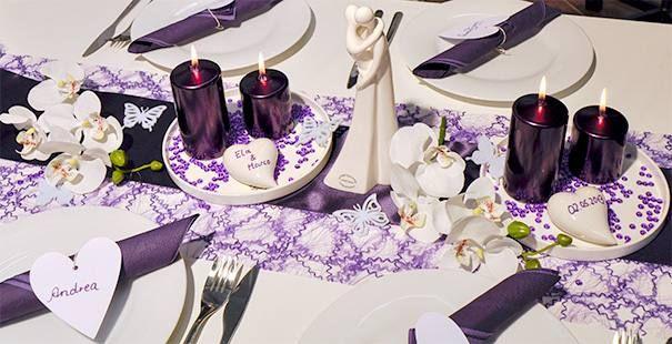 Violett mit Brautpaar  Blumen  Deko  Pinterest