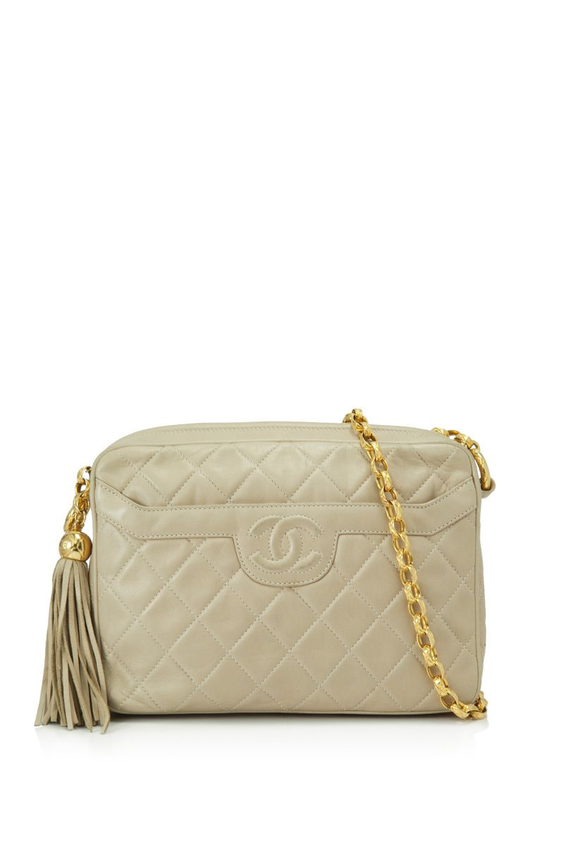 Pre Owned Chanel Quilted Leather Crossbody Cream