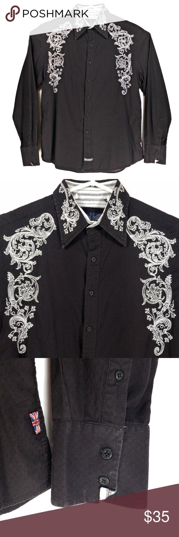 English laundry menus black embroidered shirt lg my posh closet
