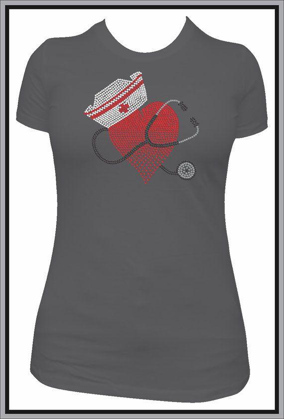 117822f8981e3 Rhinestone Nurse TShirt Bling Shirt by DesignsbyDaffy on Etsy, $19.95. This  is sweet!