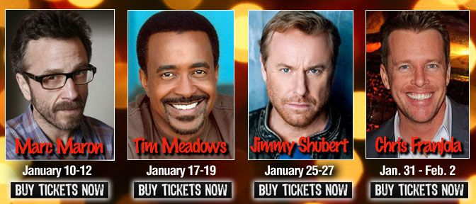 Jan. 2013 brings Marc Maron, Tim Meadows, Jimmy Shubert and Chris Franjola to Goodnights Comedy Clun in #Raleigh #NC
