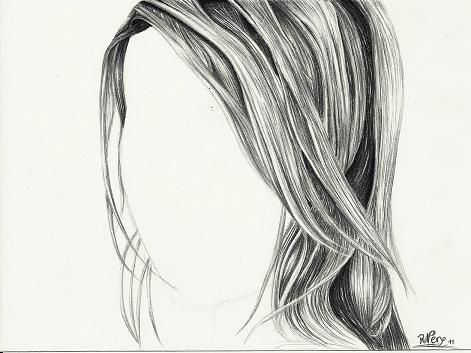 how to draw human hair with pencil