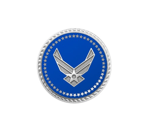 Air Force Lapel Pin w/ Applied Emblem & Deluxe Flat Back