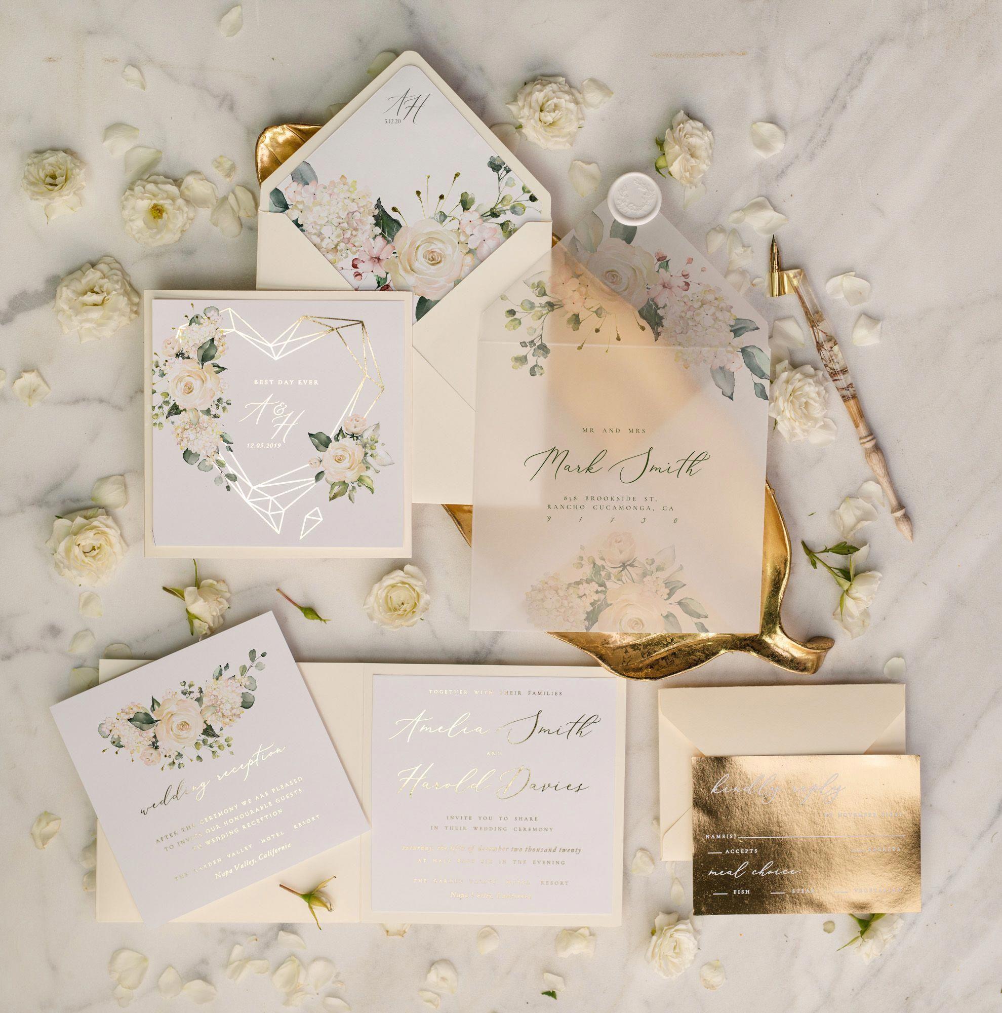 Gold glamour wedding invitations uk geometric heart vellum
