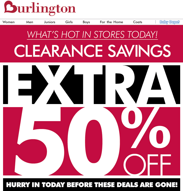 fc5bccd44e8 Pinned December 28th  Extra 50% off clearance at  Burlington Coat Factory   coupon via The Coupons App