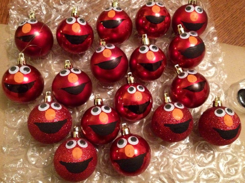 Elmo Ornaments Using Plastic From Dollar Tree Holiday Crafts Christmas Elmo Christmas Christmas Tea Party