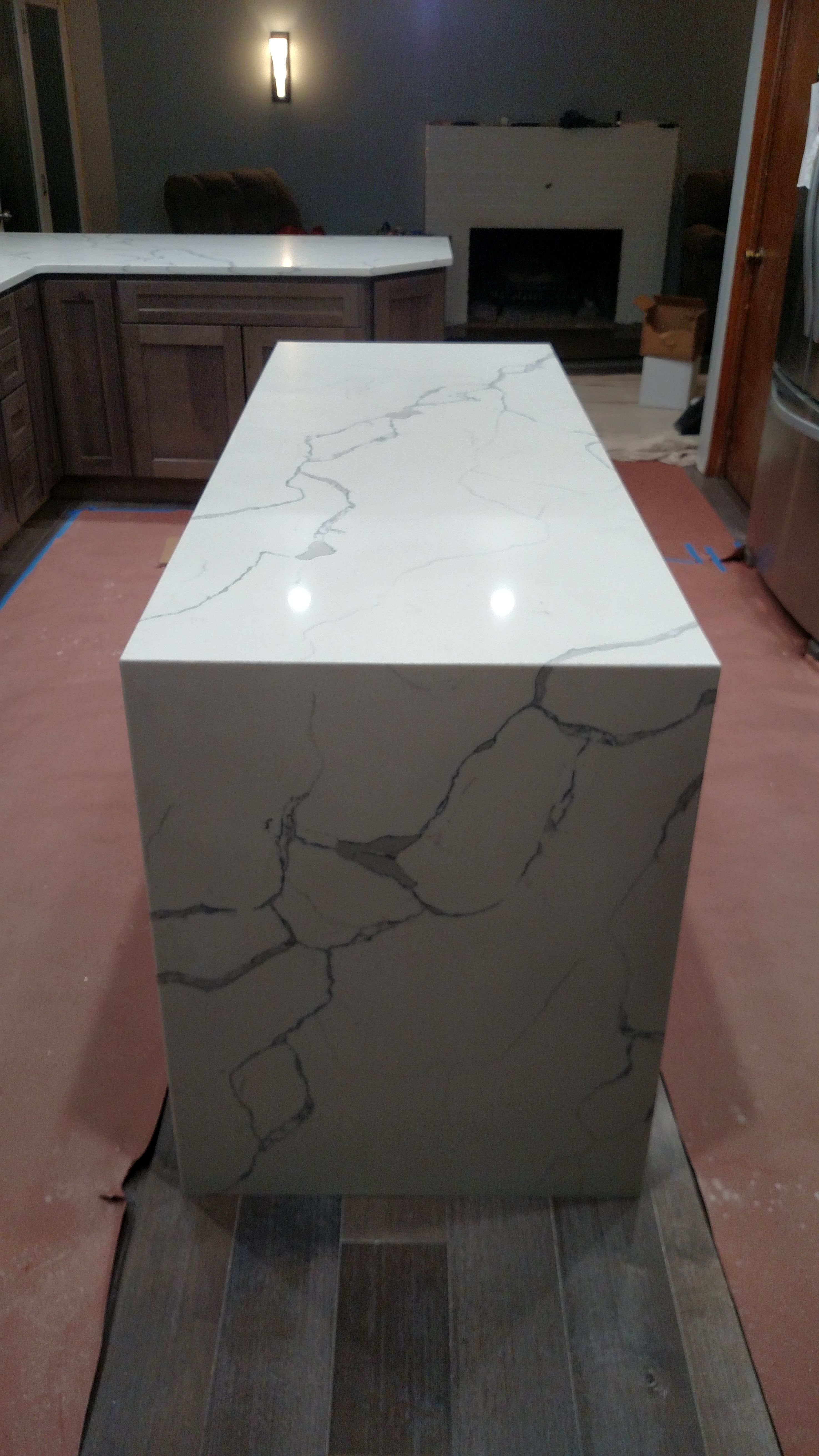 Qstone Statuary Classique Kitchen Island W Waterfall End