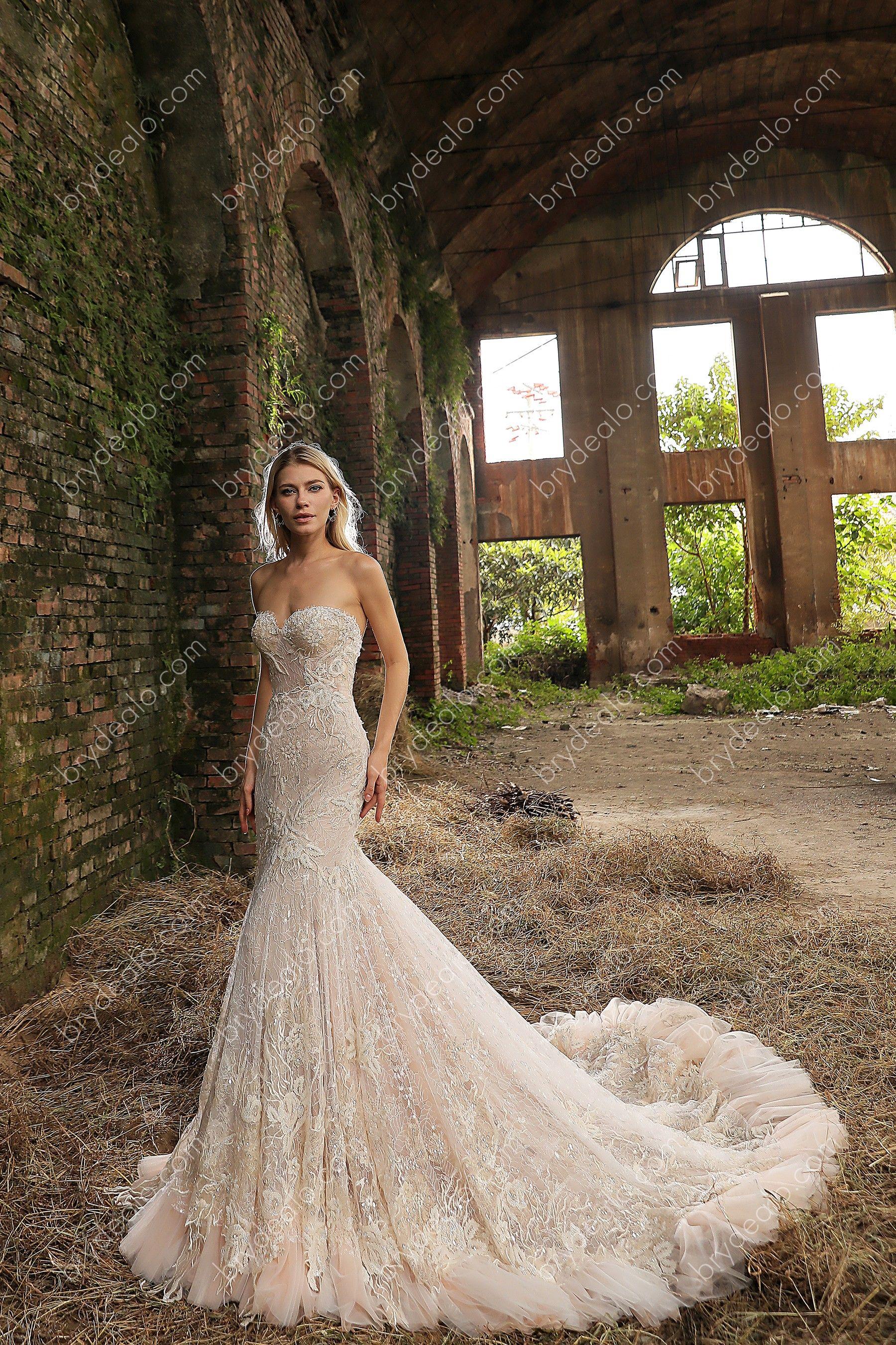 Wholesale Luxury Strapless Sweetheart Long Mermaid Bridal Gown ...