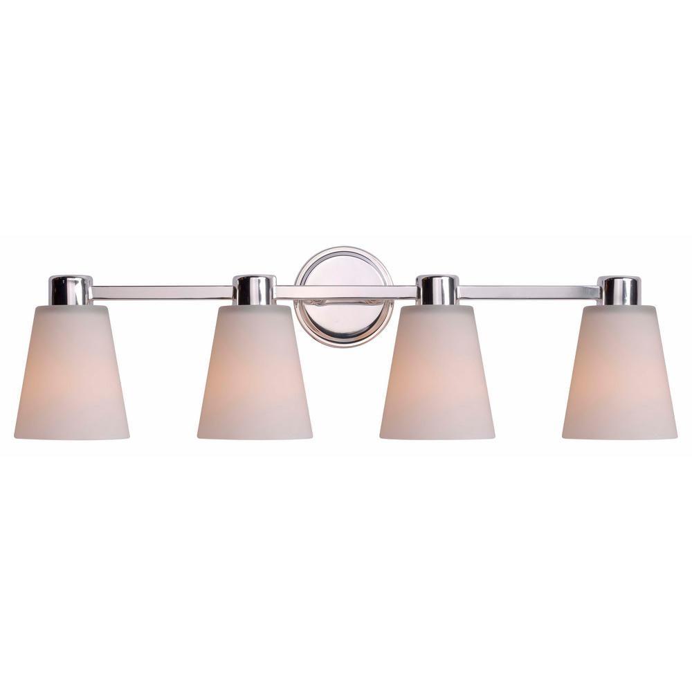 119 Kenroy Home Scarsdale 4 Light Nickel Bath Light Vanity 93454pn The Home Depot Vanity Lighting Bathroom Vanity Lighting Polished Nickel