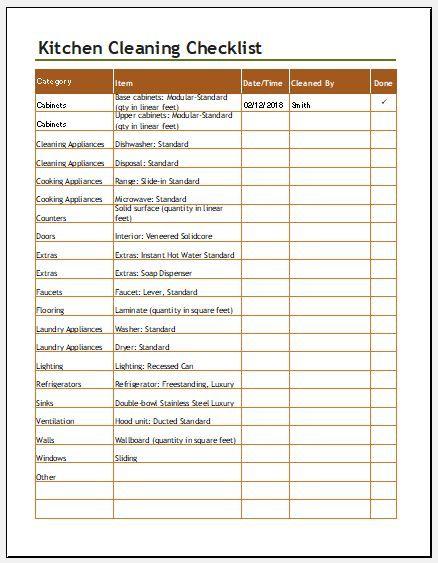 kitchen cleaning checklist templates