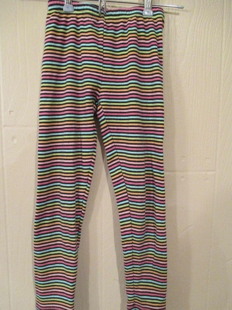 Gymboree Girls Size 7 Leggings Horizontal Stripes Black Blue Green Pink Orange  #Gymboree
