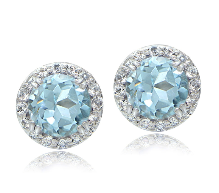 22 99 Sterling Silver 3 1ct Blue Topaz White Halo Stud Earrings These Attractive