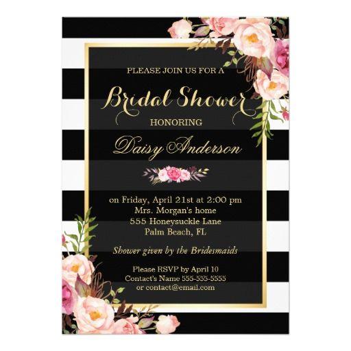 Vintage floral decor for wedding bridal shower card for Black and white bridal shower invitations