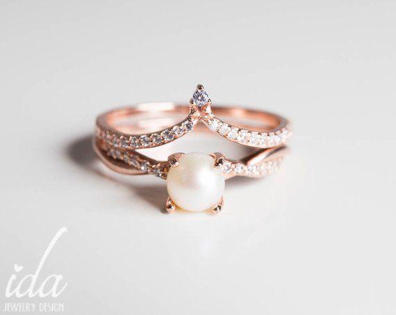Pearl Wedding Rings.Rose Gold Pearl Engagement Ring Set Womens Rings Rings For Women