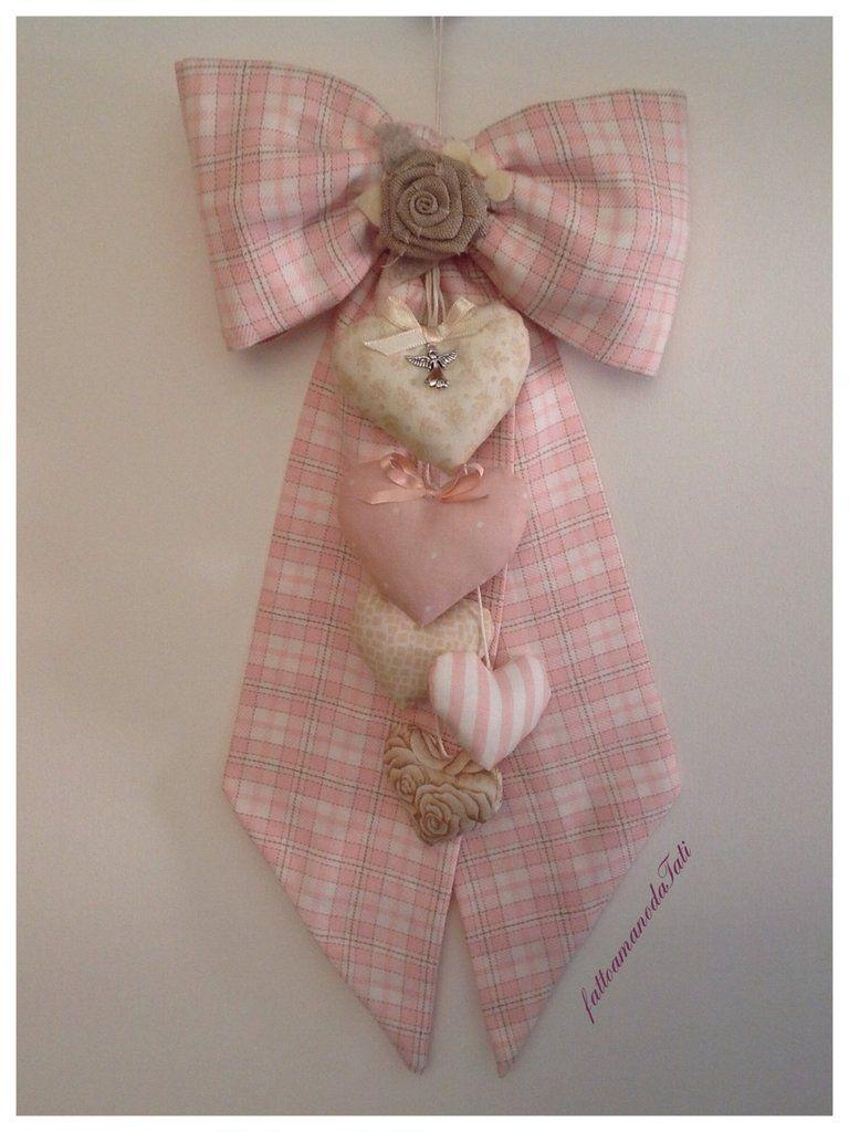 Fiocco nascita in cotone a quadri scozzesi rosa e beige con cuori ...