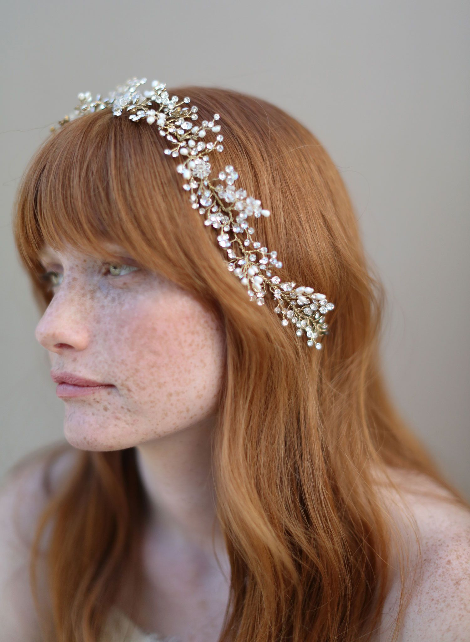 Br Bridal Headpieces Twigs And Honey - Baby s breath crystal hair vine